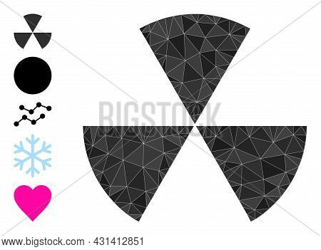 Triangle Circle Sectors Polygonal 2d Illustration, And Similar Icons. Circle Sectors Is Filled With