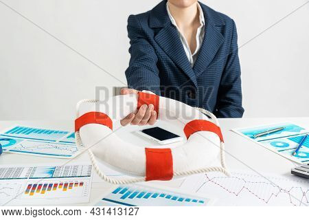 Woman Consultant Proposes Lifebuoy As Symbol Of Help. Business Assistance And Professional Law Consu