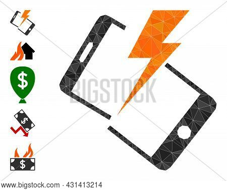 Triangle Smartphone Crash Polygonal 2d Illustration, And Similar Icons. Smartphone Crash Is Filled W