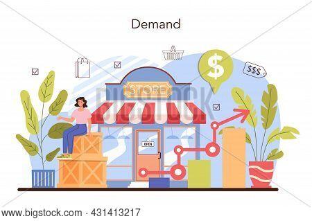 Commercial Activities. Entrepreneur Tracking Demand Of Goods. Marketing Data