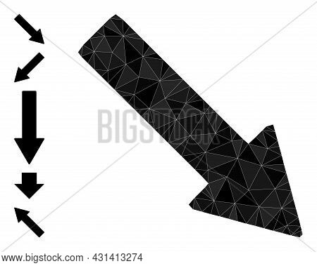 Triangle Right Down Arrow Polygonal Icon Illustration, And Similar Icons. Right Down Arrow Is Filled