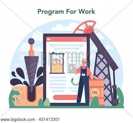 Petroleum Industry Online Service Or Platform. Pumpjack Platform