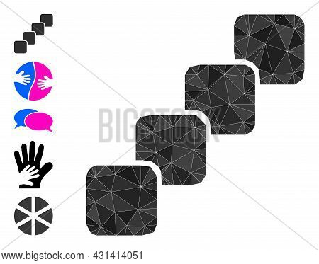 Triangle Blockchain Polygonal Icon Illustration, And Similar Icons. Blockchain Is Filled With Triang