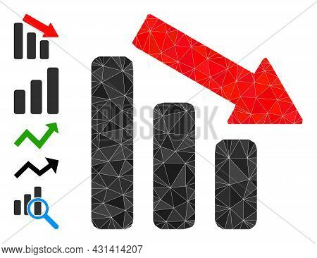 Triangle Down Trend Bar Chart Polygonal 2d Illustration, And Similar Icons. Down Trend Bar Chart Is