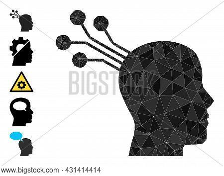 Triangle Brain Machine Interface Polygonal Icon Illustration, And Similar Icons. Brain Machine Inter