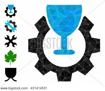 Triangle Wine Industry Polygonal Icon Illustration, And Similar Icons. Wine Industry Is Filled With