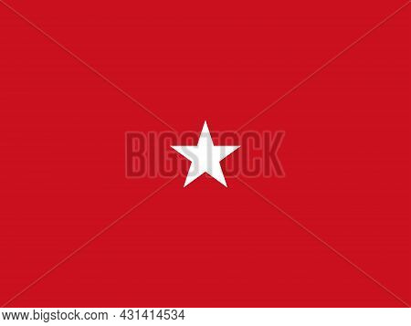 The Flag Of A Usa Marine Corps Brigadier General Of A White Star Over A Red Background