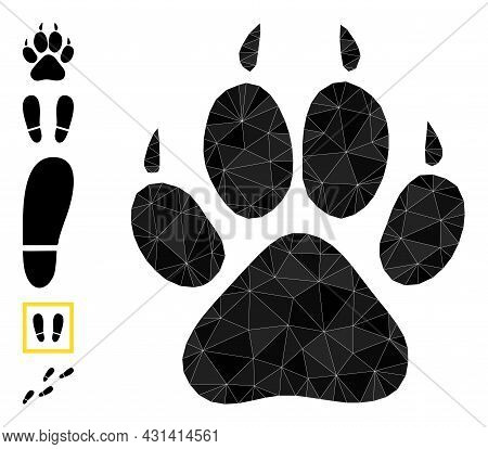 Triangle Tiger Footprint Polygonal Icon Illustration, And Similar Icons. Tiger Footprint Is Filled W