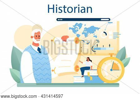 Historian Concept. History Science, Paleontology, Archeology. Knowledge Of Past