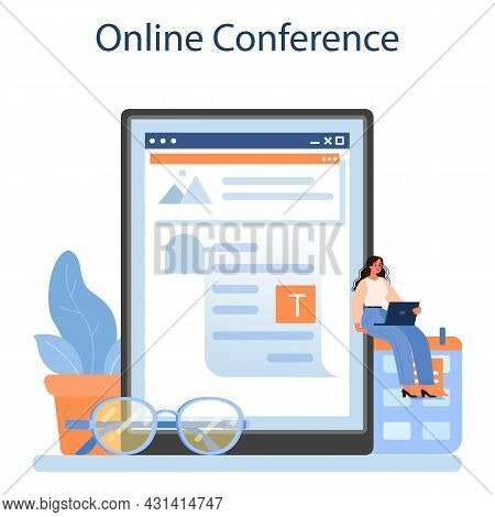 Literary Critic Online Service Or Platform. Professional Journalist