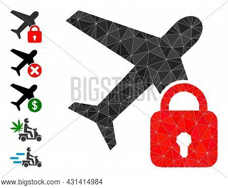 Triangle Locked Airplane Polygonal Icon Illustration, And Similar Icons. Locked Airplane Is Filled W