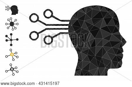 Triangle Mind Interface Polygonal Symbol Illustration, And Similar Icons. Mind Interface Is Filled W