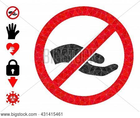 Triangle Forbid Asking Hand Polygonal Symbol Illustration, And Similar Icons. Forbid Asking Hand Is