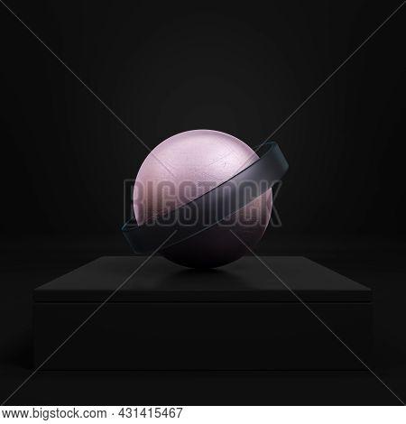 Black Pedestal With Pink Sphere And Belt On Dark Background. Minimalism Concept. 3d Render.