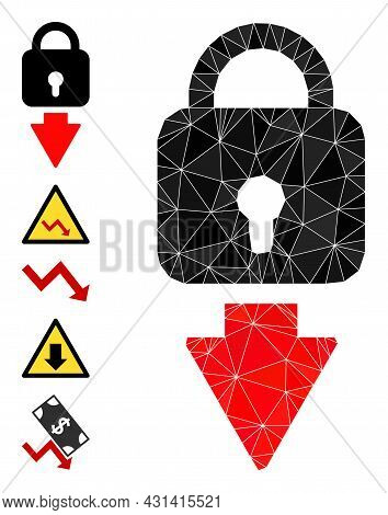 Triangle Lock Down Polygonal Symbol Illustration, And Similar Icons. Lock Down Is Filled With Triang