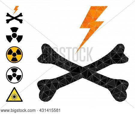 Triangle Electrical Hazard Polygonal 2d Illustration, And Similar Icons. Electrical Hazard Is Filled