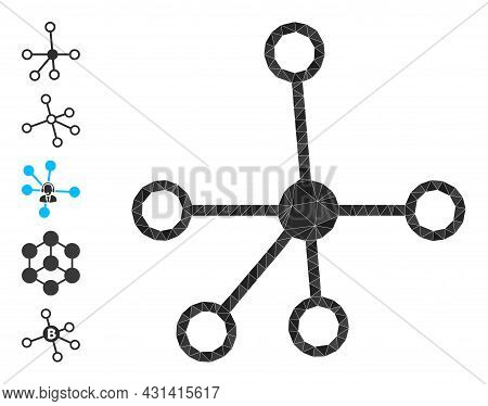 Triangle Connections Polygonal Icon Illustration, And Similar Icons. Connections Is Filled With Tria