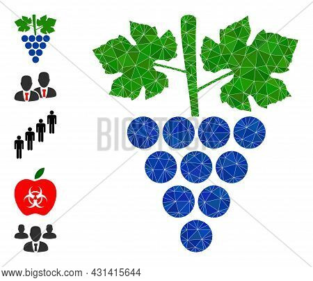 Triangle Grapes Bunch Polygonal Symbol Illustration, And Similar Icons. Grapes Bunch Is Filled With