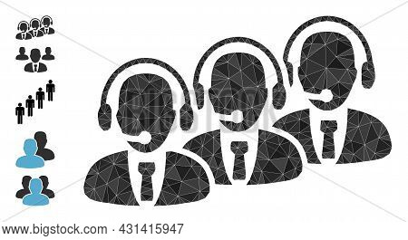 Triangle Call Center Staff Polygonal Icon Illustration, And Similar Icons. Call Center Staff Is Fill