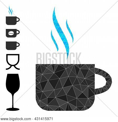 Triangle Hot Tea Cup Polygonal 2d Illustration, And Similar Icons. Hot Tea Cup Is Filled With Triang