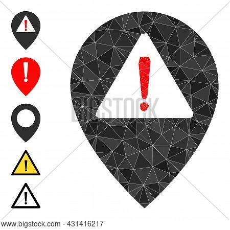 Triangle Warning Map Pointer Polygonal 2d Illustration, And Similar Icons. Warning Map Pointer Is Fi