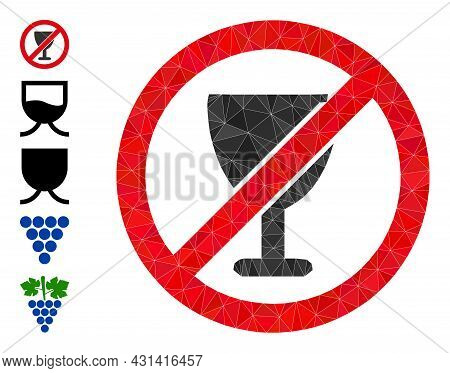 Triangle Forbid Wine Glass Polygonal 2d Illustration, And Similar Icons. Forbid Wine Glass Is Filled