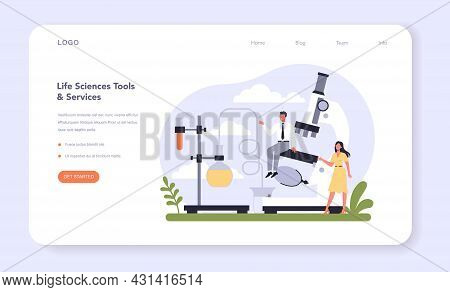 Biotechnology Industry Sector Of The Economy Web Banner Or Landing Page