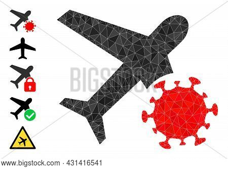 Triangle Infected Airplane Polygonal 2d Illustration, And Similar Icons. Infected Airplane Is Filled