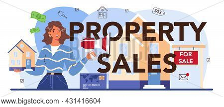 Property Sales Typographic Header. Real Estate Industry, Realtor Assistance