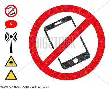 Triangle Forbid Smartphone Polygonal Symbol Illustration, And Similar Icons. Forbid Smartphone Is Fi