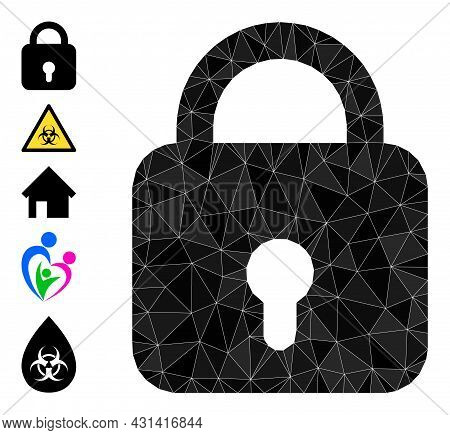 Triangle Lock Polygonal 2d Illustration, And Similar Icons. Lock Is Filled With Triangles. Lowpoly L