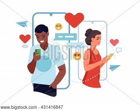 Online Dating Service. Phone Matchmaking App, Man And Woman Chat And Flirt On Social Network, Search