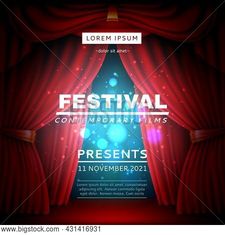 Stage Curtain Poster. Festival Opening Banner With Realistic Red Heavy Theatrical Veils, Light Effec