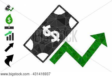 Triangle Dollar Growth Trend Polygonal Symbol Illustration, And Similar Icons. Dollar Growth Trend I
