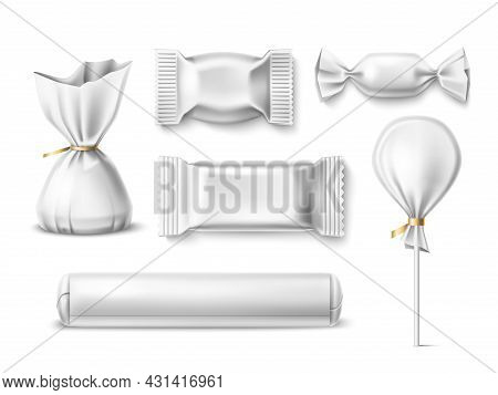 Candy Packaging. Realistic Sweets Wrapping Template, 3d Sugar Products, Bonbons, Lollipops, Differen