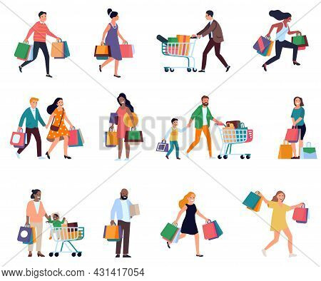 Shopping People. Men And Women With Shopper Bags, Consumers During Period Of Discounts And Sales, Bo