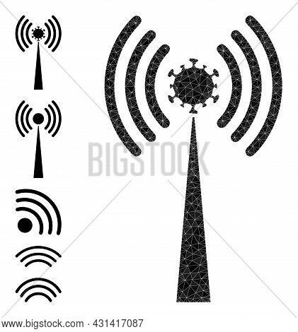 Triangle Virus Radio Tower Polygonal Symbol Illustration, And Similar Icons. Virus Radio Tower Is Fi