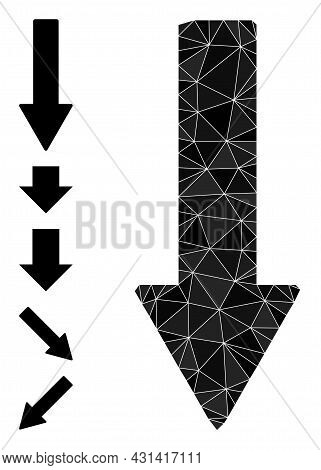Triangle Down Arrow Polygonal Symbol Illustration, And Similar Icons. Down Arrow Is Filled With Tria