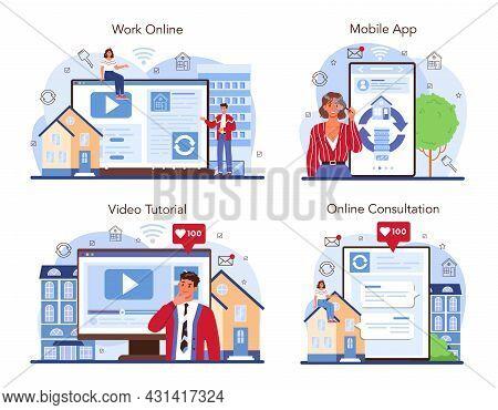Real Estate Agency Online Service Or Platform Set. Qualified Realtor Service.