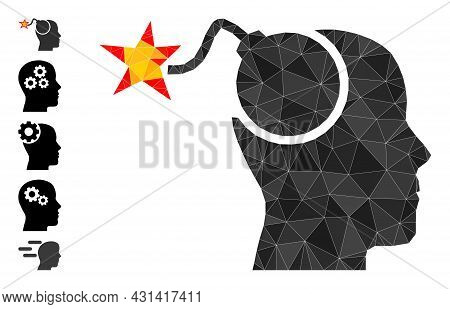 Triangle Bomb Idea Polygonal Symbol Illustration, And Similar Icons. Bomb Idea Is Filled With Triang