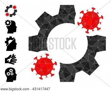 Triangle Virus Mechanics Polygonal Symbol Illustration, And Similar Icons. Virus Mechanics Is Filled