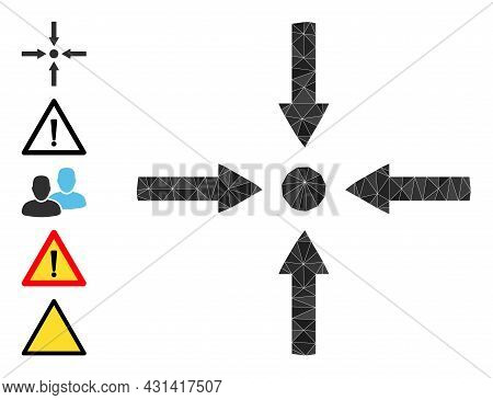 Triangle Meeting Point Arrows Polygonal 2d Illustration, And Similar Icons. Meeting Point Arrows Is