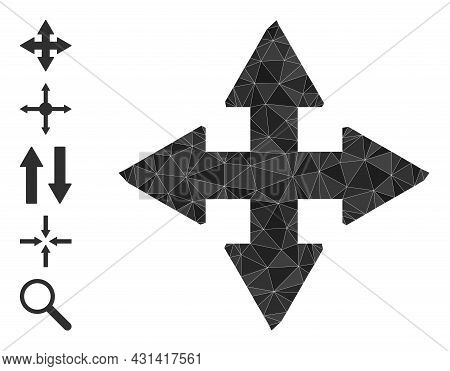 Triangle Expand Arrows Polygonal Icon Illustration, And Similar Icons. Expand Arrows Is Filled With
