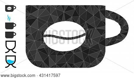 Triangle Coffee Cup Polygonal Symbol Illustration, And Similar Icons. Coffee Cup Is Filled With Tria