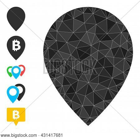 Triangle Map Marker Polygonal Symbol Illustration, And Similar Icons. Map Marker Is Filled With Tria