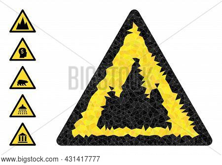 Triangle Mountains Warning Polygonal Icon Illustration, And Similar Icons. Mountains Warning Is Fill