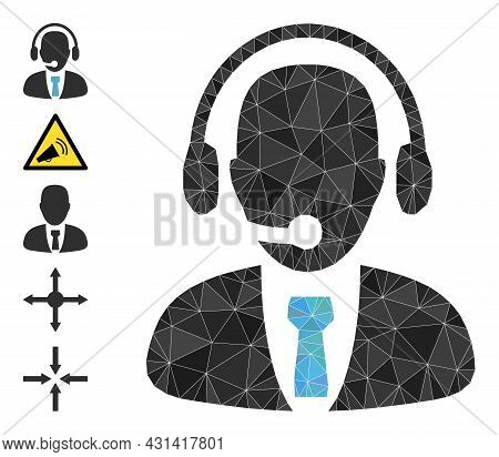 Triangle Call Center Operator Polygonal Icon Illustration, And Similar Icons. Call Center Operator I