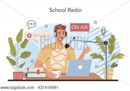 Rhetoric School Class. School Radio Host. Students Training Public Speaking