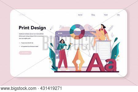 Graphic Designer Web Banner Or Landing Page. Digital Artist Creating Brand
