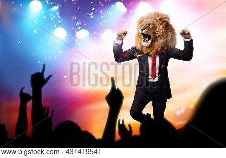 Happy Proud Man With A Lion Head In A Business Suit Celebrating Victory With Crowd Cheering. Busines